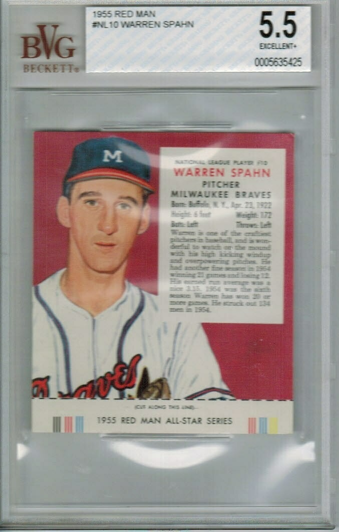 1955 Red Man Tobacco #NL10 Warren Spahn Beckett graded 5.5