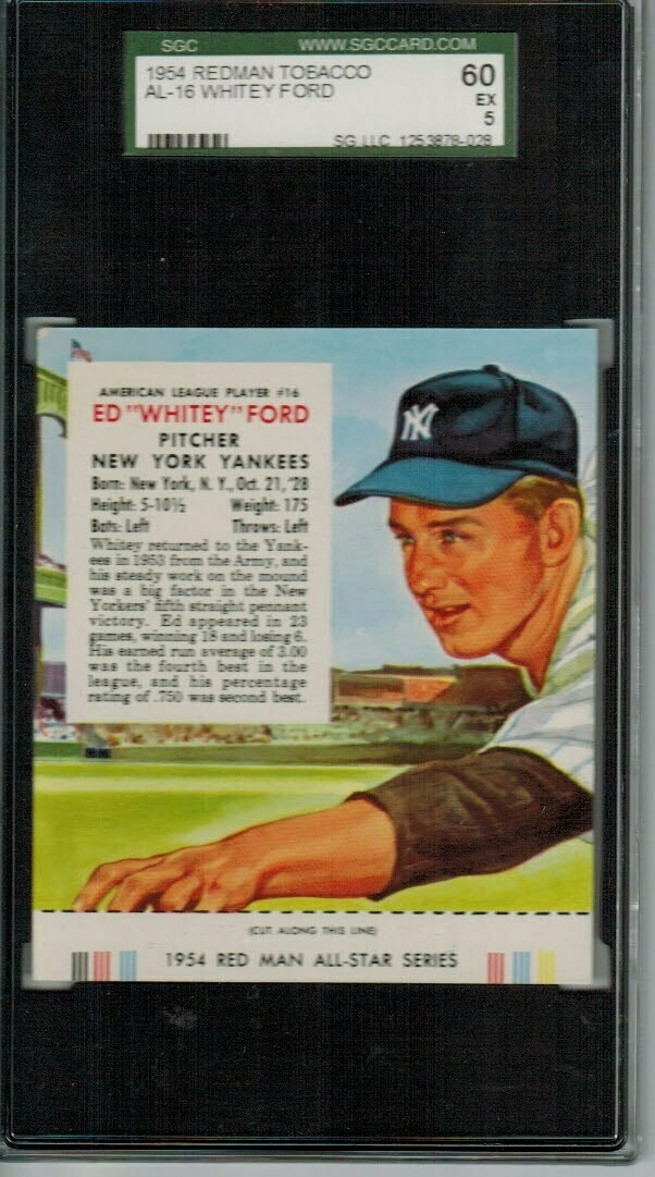 1954 Red Man Tobacco #AL16 Whitey Ford SGC 5