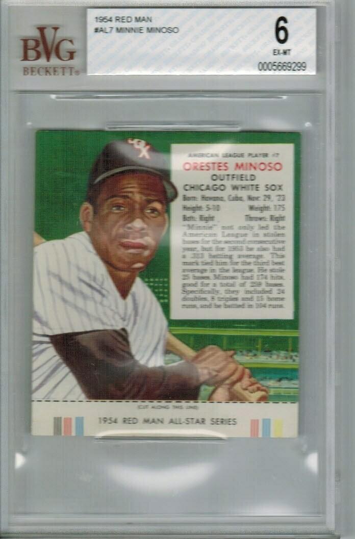 1954 Red Man Tobacco #AL7 Minnie Minoso Beckett Graded 6