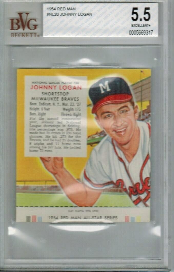 1954 Red Man Tobacco #NL20 Johnny Logan Beckett graded 5.5