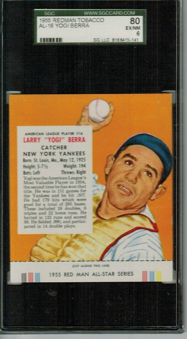 1955 Red man Tobacco #AL16 Yogi Berra SGC 6