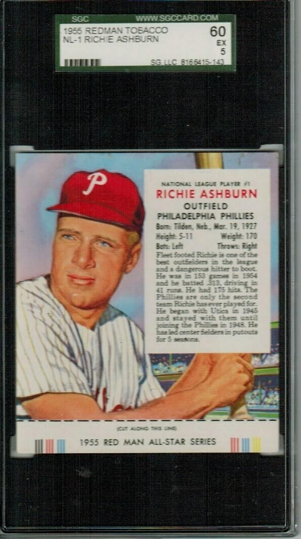 1955 Red Man Tobacco #NL1 Richie Ashburn SGC 5