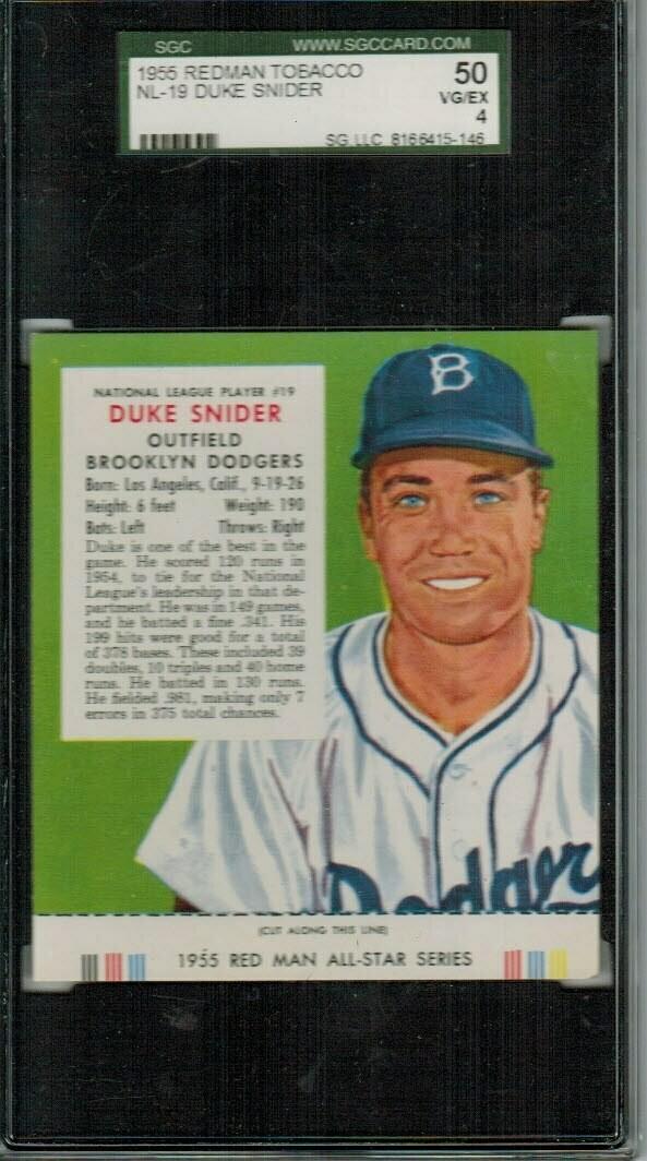 1955 Red Man Tobacco #NL19 Duke Snider SGC 4