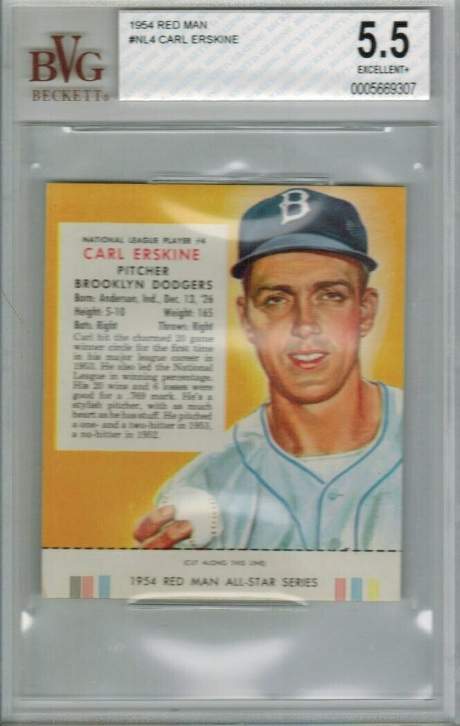 1954 Red Man Tobacco #NL4 Carl Erskine Beckett graded 5.5