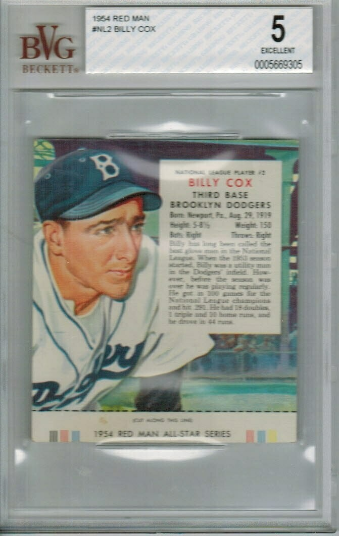 1954 Red man Tobacco #NL2 Billy Cox Beckett Graded 5