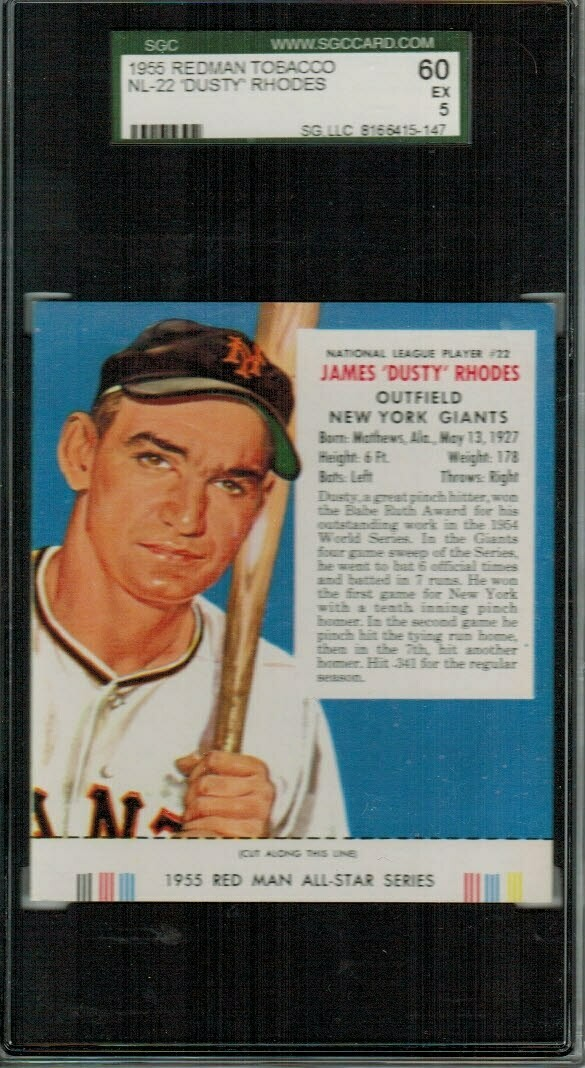 1955 Red Man Tobacco #NL22 Dusty Rhodes SGC 5