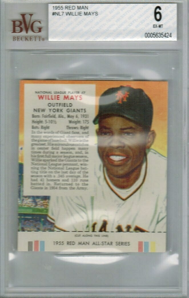 1955 Red Man Tobacco #NL7 Willie Mays Beckett graded 6