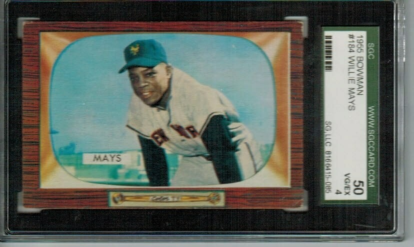 1955 Bowman #184 Willie Mays SGC 4 List $500