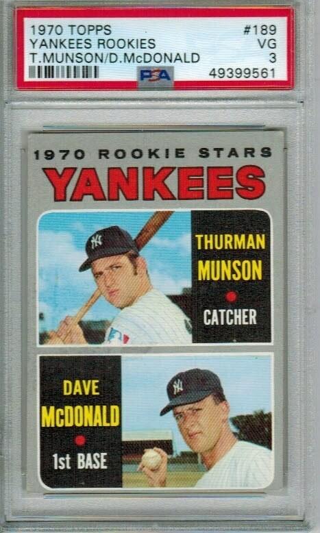 1970 Topps #189 Thurman Munson PSA 3