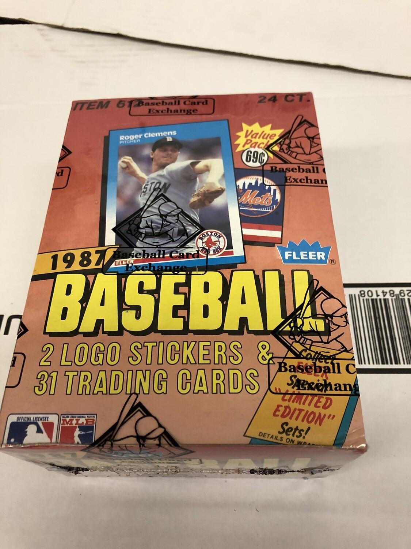 1987 Fleer Baseball Cello Box 24 packs BBCE Wrapped