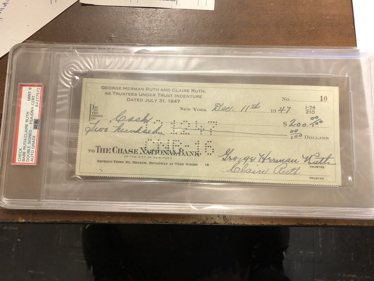 Babe Ruth signed Trust Fund Check JSA PSA 9