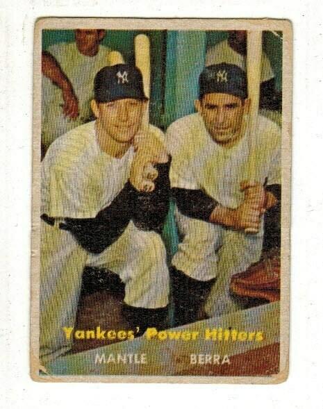 1957 Topps #407 Yankees Power Hitters Mantle/Berra list $500