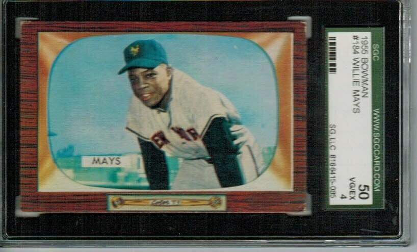 1955 Bowman #184 Willie Mays SGC graded 4 list $500