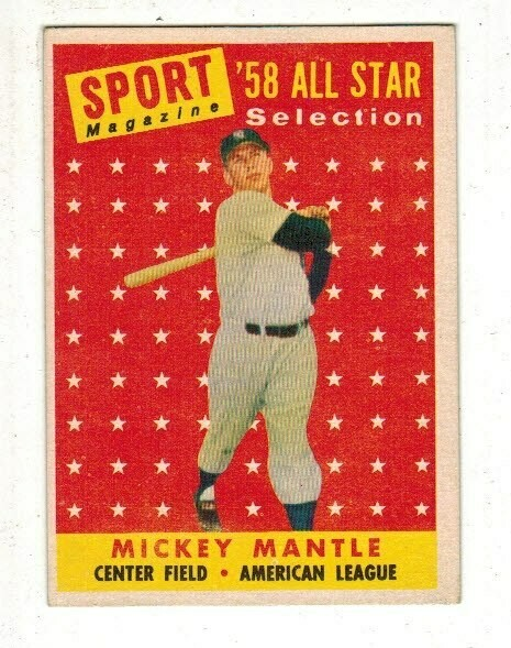 1958 Topps #487 Mickey Mantle All Star list $200