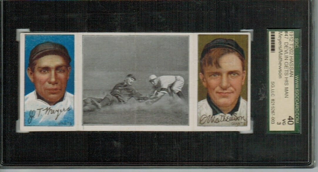1912 T202 Hassan Triple Ford Christie Mathewson SGC 3