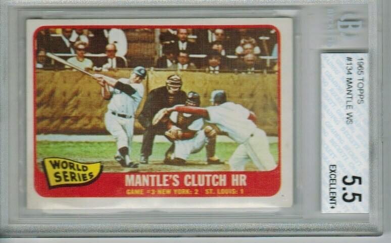1965 Topps Mickey Mantle World Series Clutch HR Beckett graded 5.5