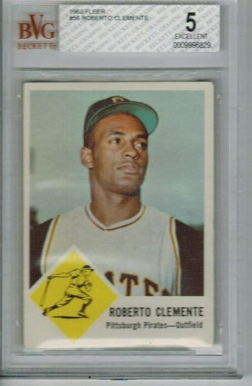 1963 Fleer #56 Roberto Clemente Beckett Graded 5
