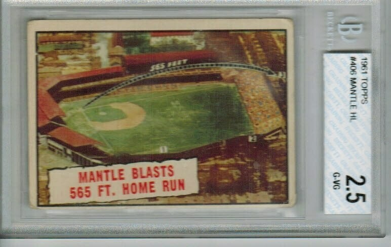 1961 Topps Mickey Mantle Highlight Beckett Graded 2.5 List $100