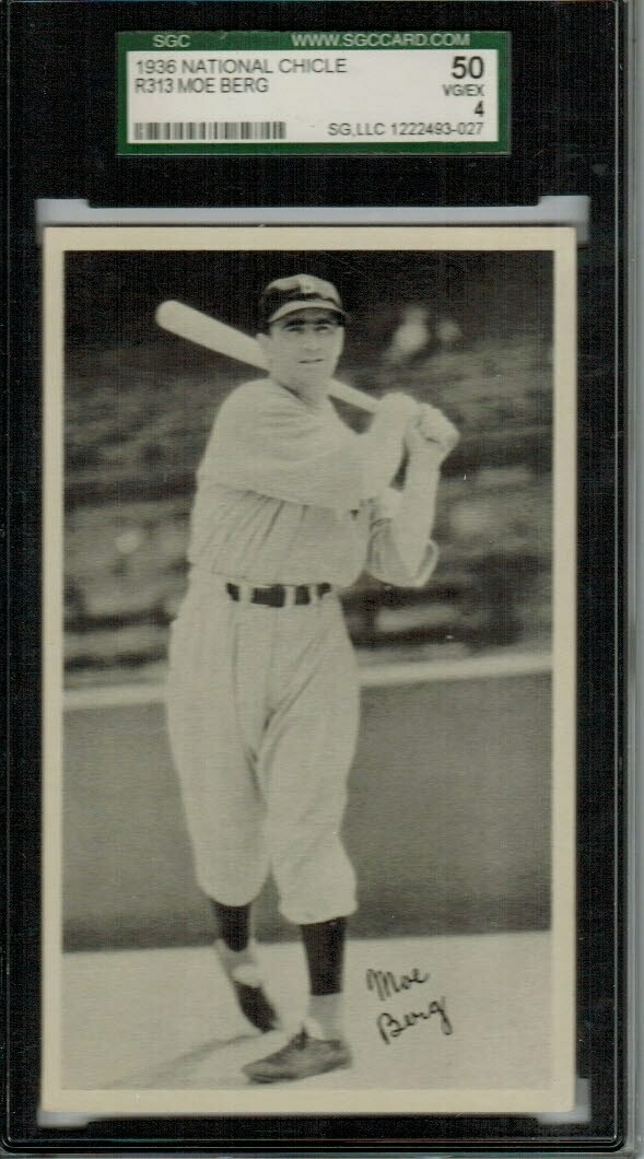 1936 National Chicle R313 Mo Berg SGC Graded 50
