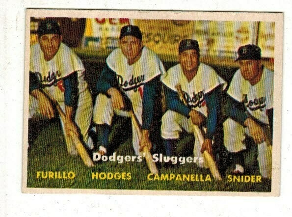 1957 Topps #400 Dodger Sluggers Furillo Hodges Campanella Snider list $150