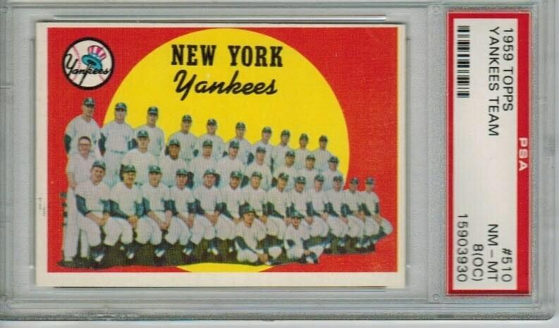 1959 Topps #510 Yankees Team Card PSA 8 o/c