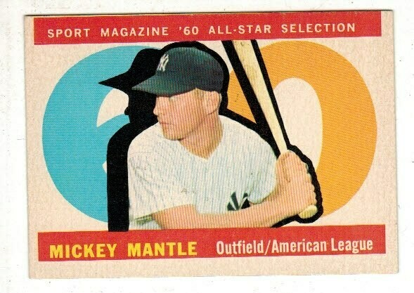 1960 Topps #563  Mickey Mantle All Star list $300
