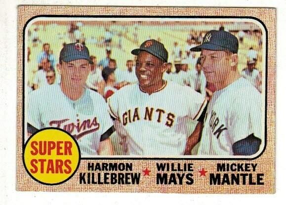 1968 Topps #490 Superstars MIckey Mantle Mays Killebrew list $200