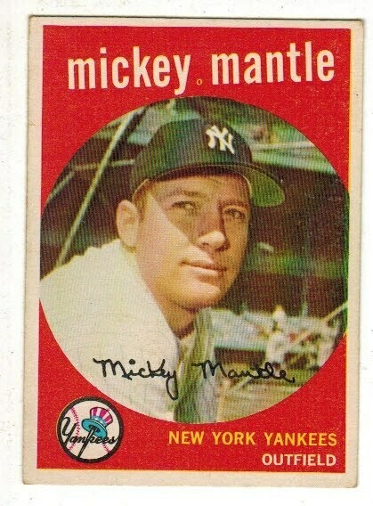 1959 Topps #10 Mickey Mantle list $1,000