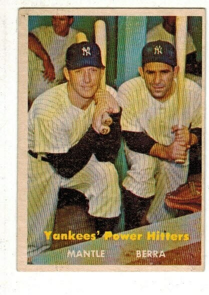 1957 Topps #407 Yankee Power Hitters Mickey Mantle Berra LIST $500