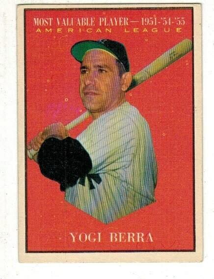 1961 Topps #472 Yogi Berra MVP list $60