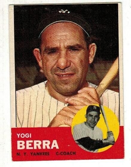 1963 Topps #340 Yogi Berra list $100