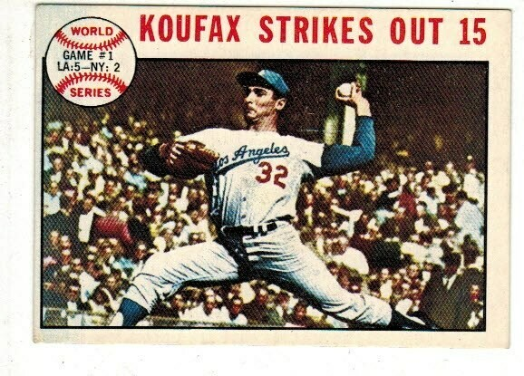 1964 Topps #136 Sandy Koufax Strikes Out 15 World Series list $20