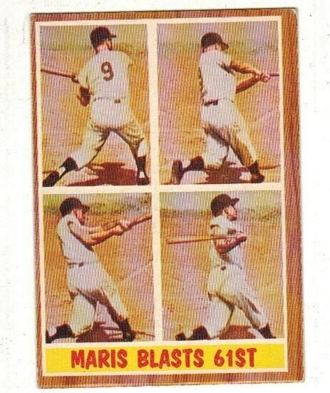 1962 Topps #313 Roger Maris Blasts 61st list $80
