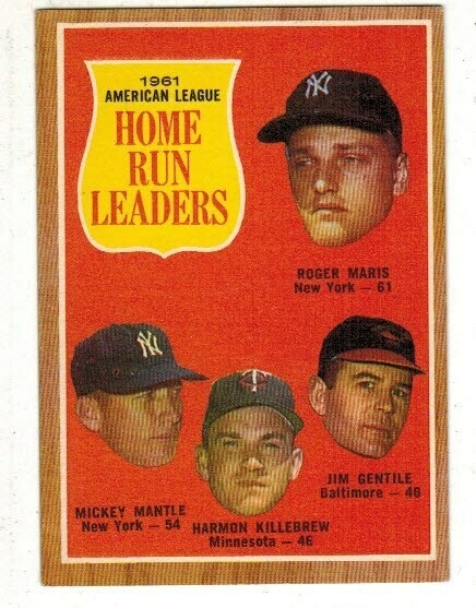 1962 Topps #53 AL Home Run Leaders Mickey Mantle Roger Maris list $80