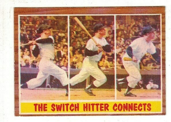 1962 Topps #318 The Switch Hitter Connects Mickey Mantle list $100