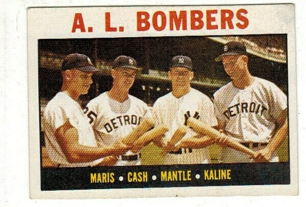 1964 Topps #331 AL Bombers Mickey Mantle list $150