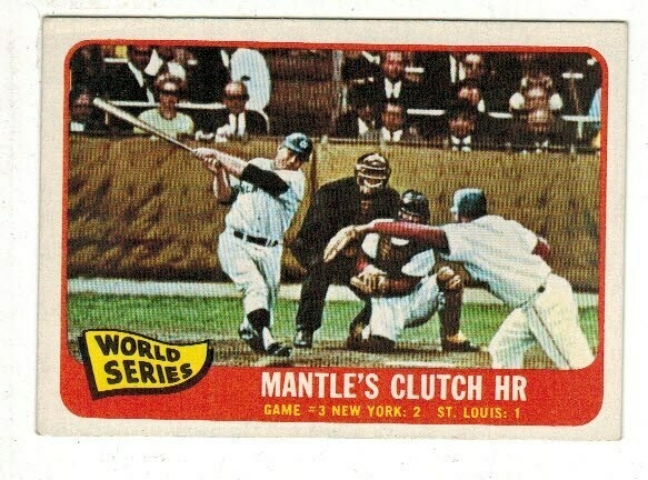 1965 Topps #134 WS Mickey Mantle Clutch HR