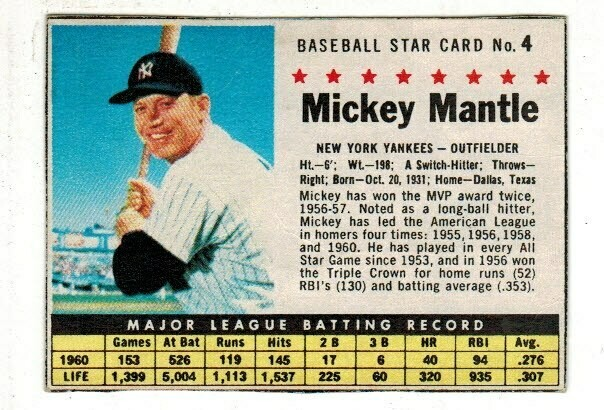 1961 Post Cereal Mickey Mantle