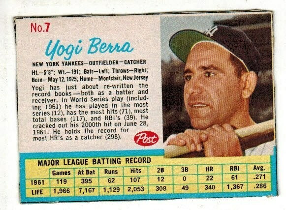 1962 Post Cereal #7 Yogi Berra
