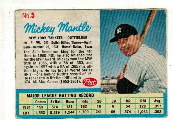 1962 Post Cereal #5 Mickey Mantle