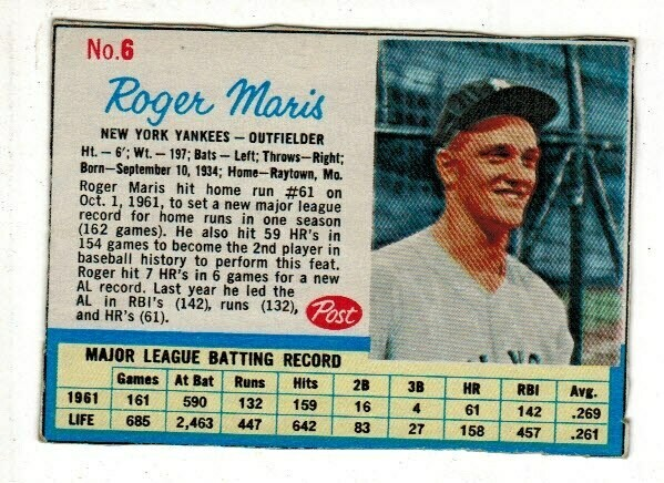 1962 Post Cereal #6 Roger Maris