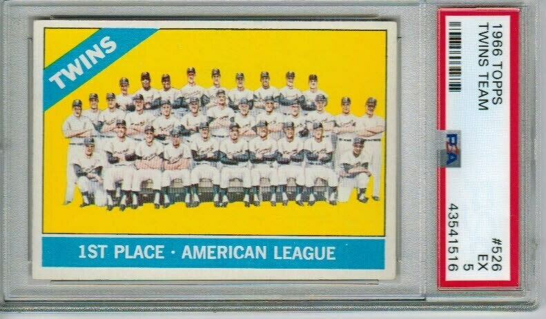 1966 Topps #526 Twins Team Card PSA 5