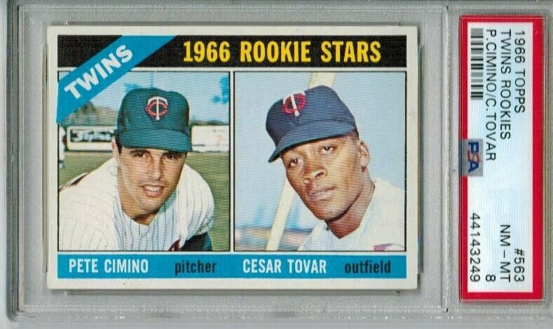 1966 Topps #563 Cesar Tovar rookie PSA 8