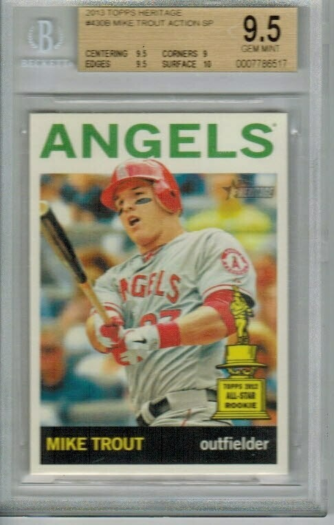2014 Topps Heritage #30B Mike Trout Action SP Beckett 9.5