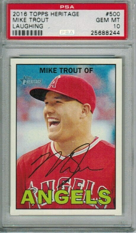 2016 Topps Heritage #500 Mike Trout Gray Jersey PSA 10