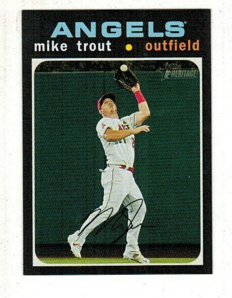 2020 Topps Heritage #466 Mike Trout Action