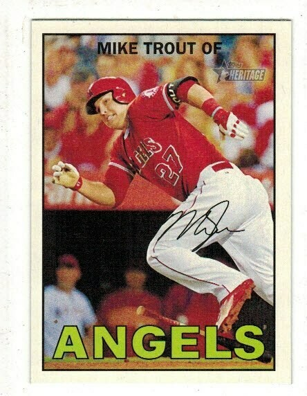 2016 Topps Heritage #500 Mike Trout Action