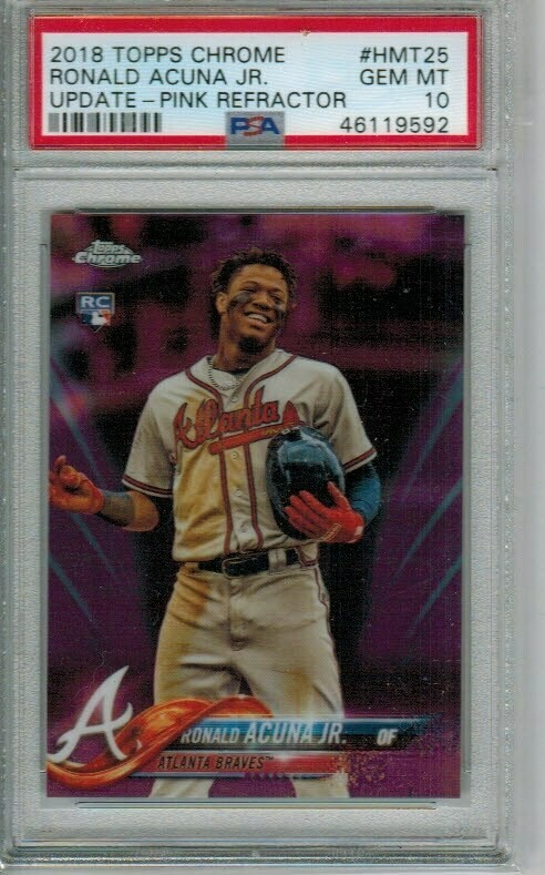 Ronald Acuna Jr. rookie PSA 10 2018 Topps Chrome Update Pink Refractor #25