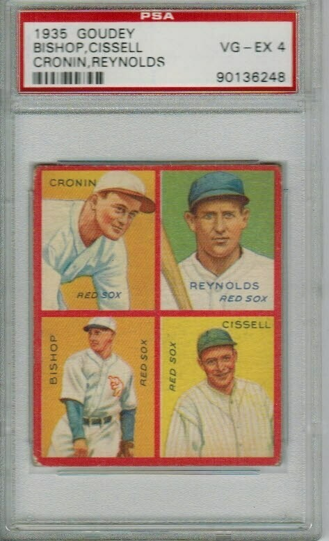 1935 Goudey Joe Cronin/Reynolds/Bishop/Cissell PSA 4