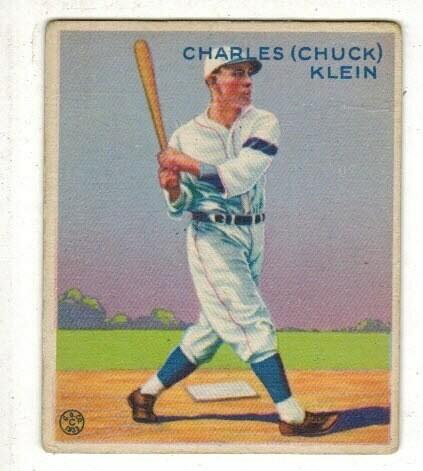 1933 Goudey #128 Chuck Klein rookie list $400